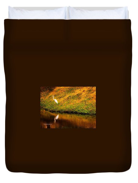 Great Egret At The Lake Duvet Cover