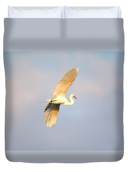 Great Egret Bathed In Golden Sunlight Duvet Cover