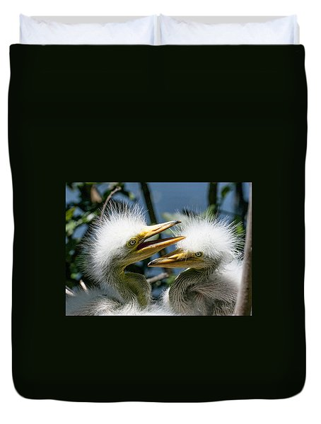 Duvet Cover featuring the photograph Great Egret Chicks by Brian Tarr