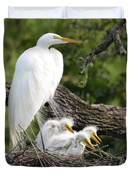 Great Egret Family  Duvet Cover