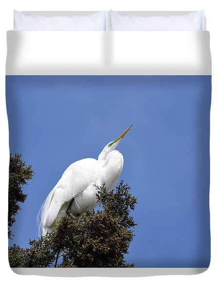 Duvet Cover featuring the photograph Great Egret by Gary Wightman