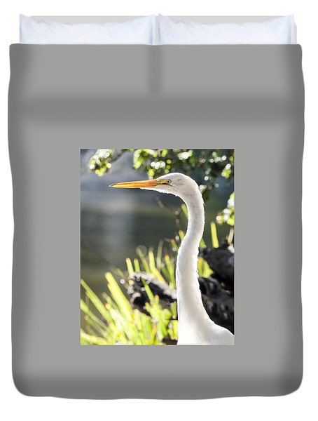 Great Egret Headshot Profile  Duvet Cover