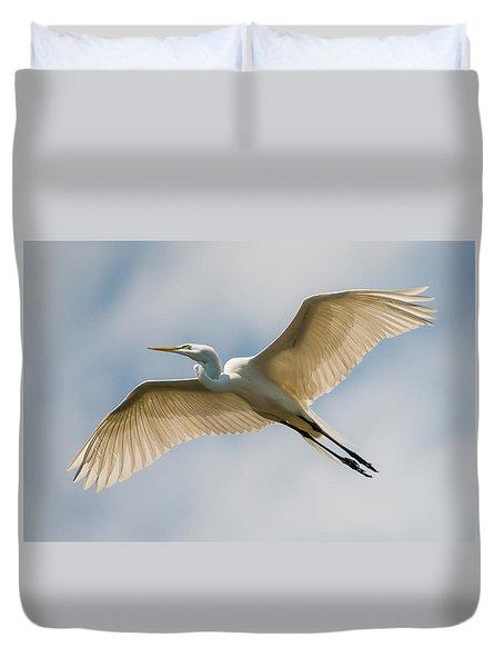 Great Egret In Flight - St. Augustine Fl Duvet Cover