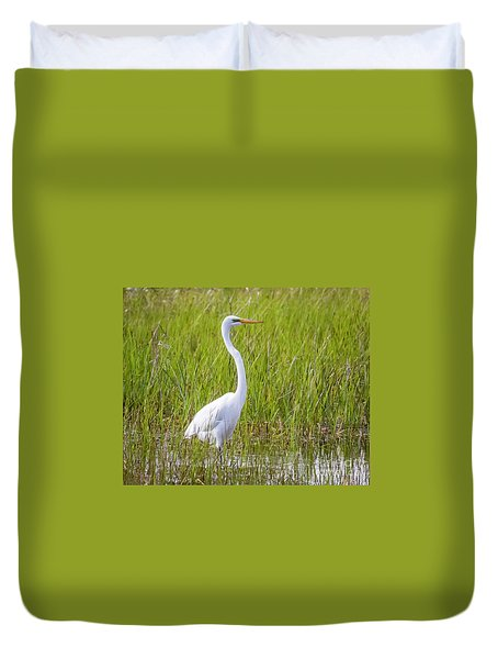 Duvet Cover featuring the photograph Great Egret In The Spring  by Ricky L Jones