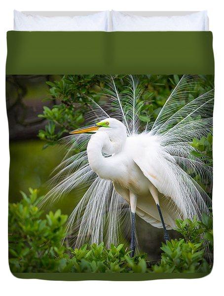 Great Egret Nesting St. Augustine Florida Coastal Bird Nature Duvet Cover