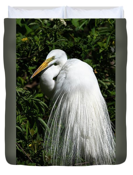Duvet Cover featuring the photograph Great Egret Portrait Two by Steven Sparks
