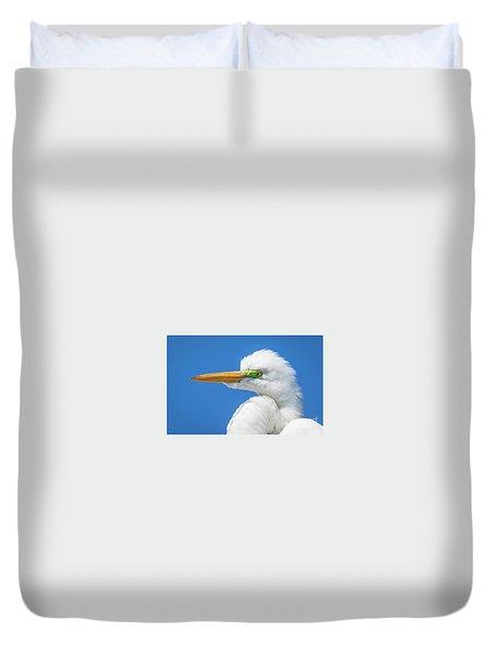 Great Egret Profile Duvet Cover by John Roberts
