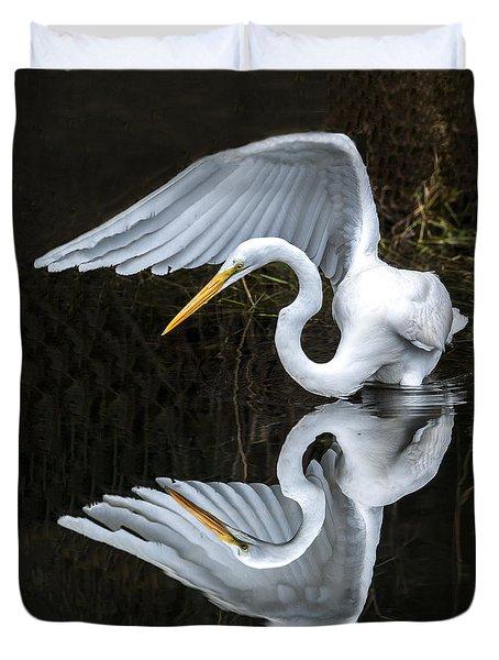 Great Egret Reflection Duvet Cover