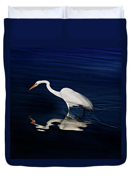 Great Egret-self Reflections Duvet Cover