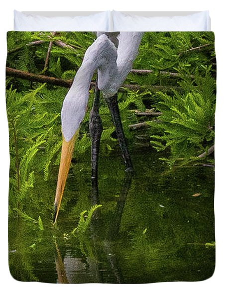 Great Egret With Its Reflection Duvet Cover