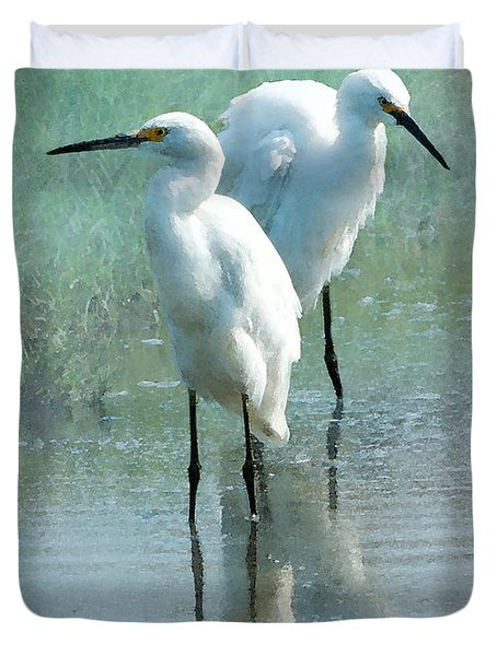 Great Egrets Duvet Cover by Betty LaRue