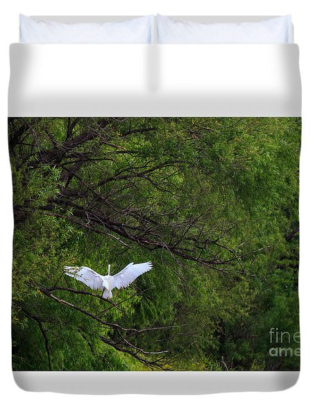 Great Egrets In The Shore Duvet Cover