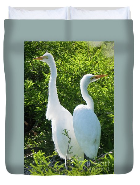 Great Egrets Standing Watch Duvet Cover
