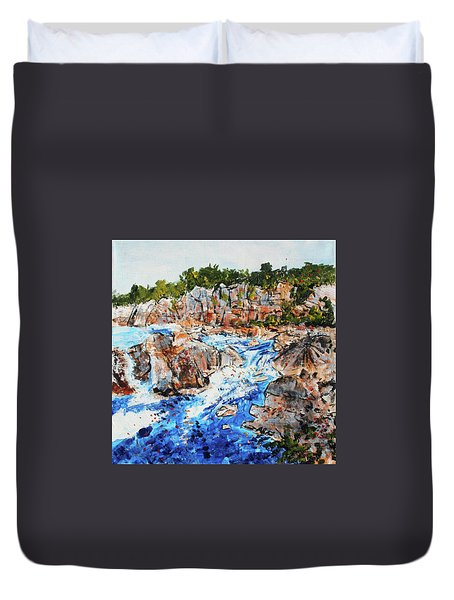 Great Falls Waterfall 201745 Duvet Cover by Alyse Radenovic