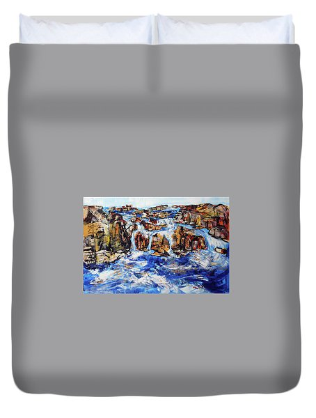 Great Falls Waterfall 201753 Duvet Cover by Alyse Radenovic