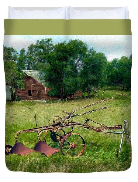 Great Grandpa's Plow Duvet Cover by Ric Darrell