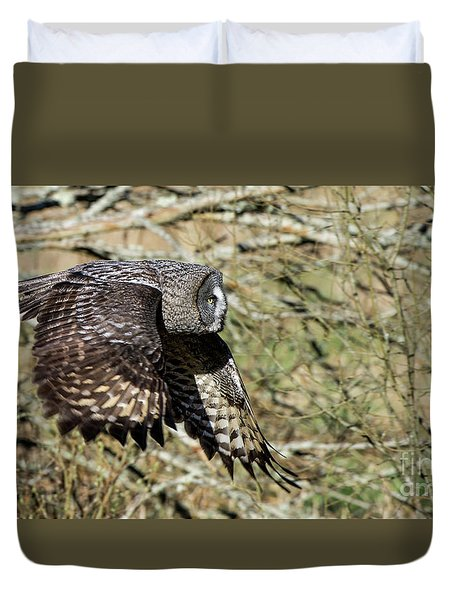 Great Grey Flying Duvet Cover by Torbjorn Swenelius