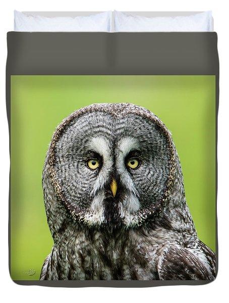 Great Grey's Portrait Closeup Square Duvet Cover