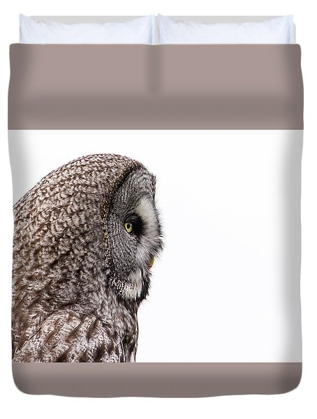 Great Grey's Profile On White Duvet Cover