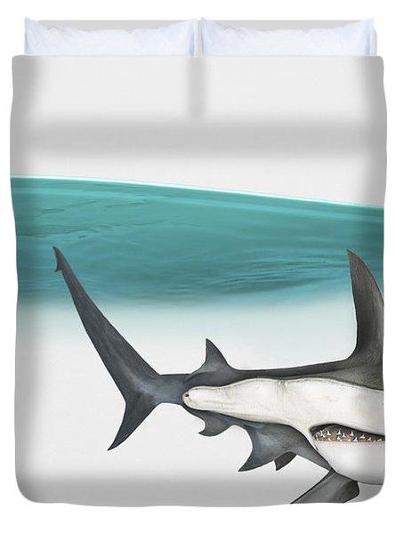 Great Hammerhead Sphyrna Mokarran - Squat-headed Hammerhead Shark - Grand Requin-marteau - Cornuda Duvet Cover by Urft Valley Art