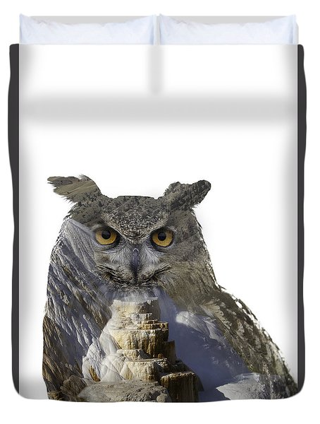 Great Horned Owl And Mammoth Hot Springs Duvet Cover