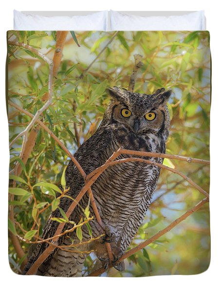 Duvet Cover featuring the photograph Great Horned Owl At Summer Lake by Angie Vogel