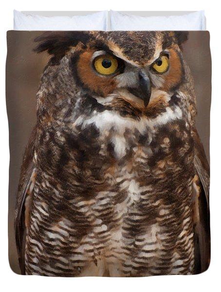 Duvet Cover featuring the digital art Great Horned Owl Digital Oil by Chris Flees