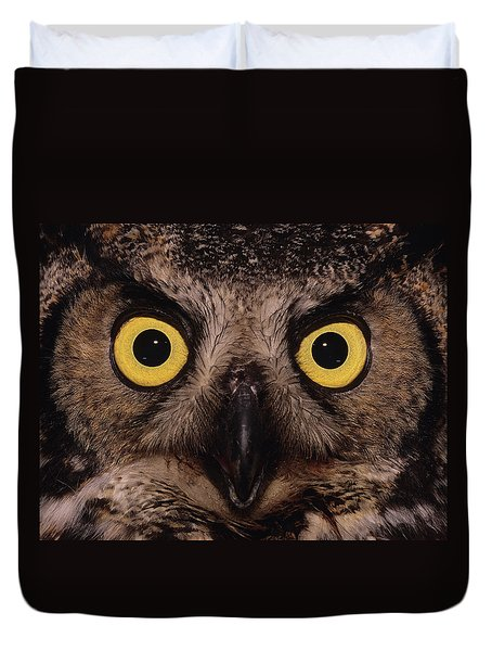 Great Horned Owl Face Duvet Cover by Tony Beck