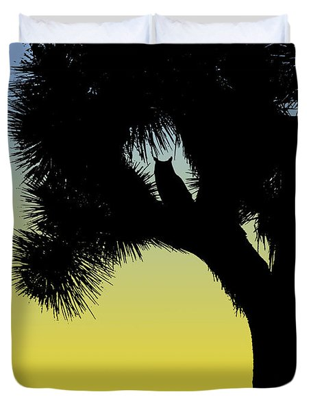Great Horned Owl In A Joshua Tree Silhouette At Sunrise Duvet Cover