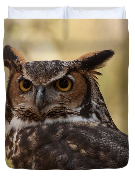 Great Horned Owl In A Tree 1 Duvet Cover by Chris Flees
