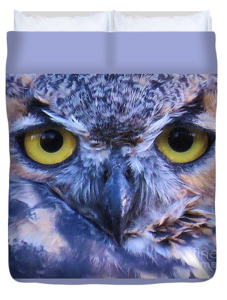 Great Horned Owl Macro Duvet Cover