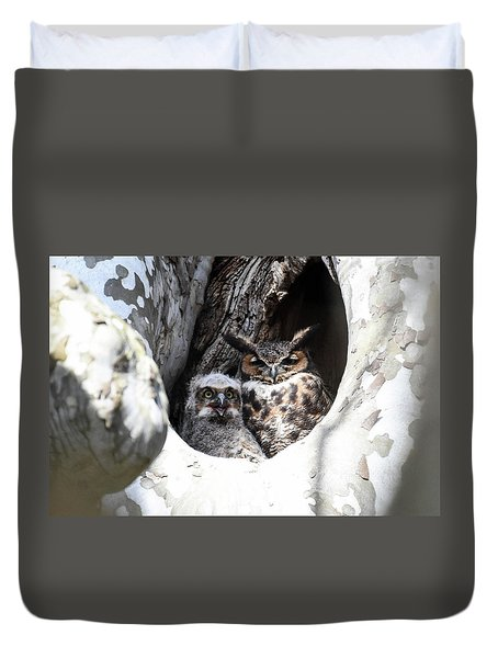 Duvet Cover featuring the photograph Great Horned Owl Nest by Gary Wightman