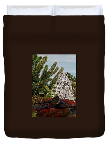 Great Horned Owl - Owl On The Rocks Duvet Cover