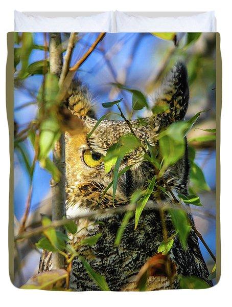 Great Horned Owl Peeking At It's Prey Duvet Cover