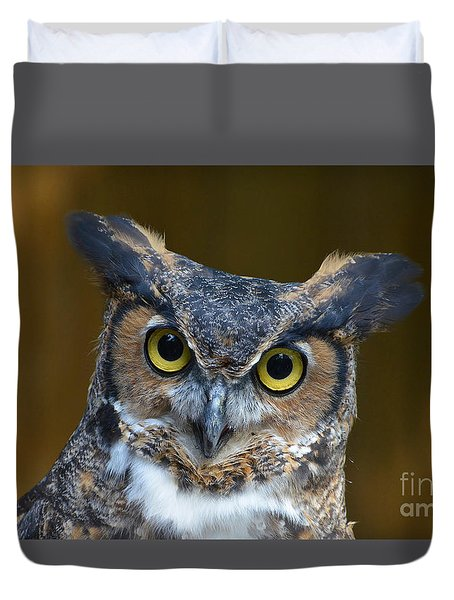 Great Horned Owl Portrait Duvet Cover by Kathy Baccari