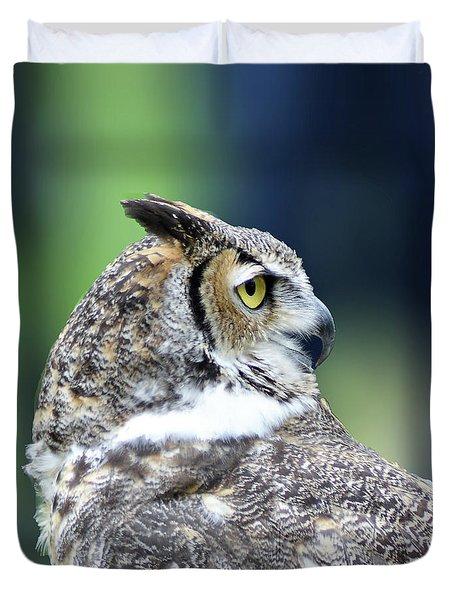 Great Horned Owl Profile Duvet Cover