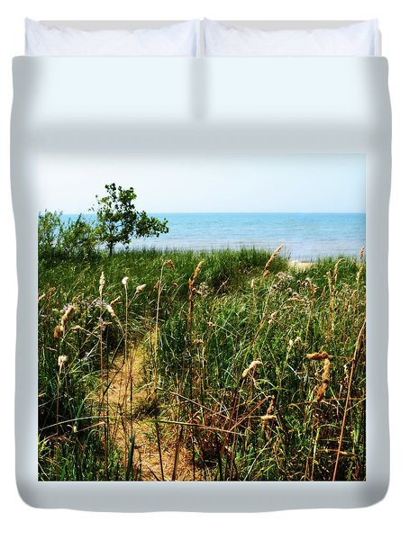 Duvet Cover featuring the photograph Great Lake Beach Path by Michelle Calkins