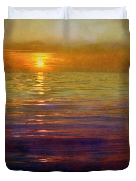 Duvet Cover featuring the digital art Great Lakes Setting Sun by Michelle Calkins