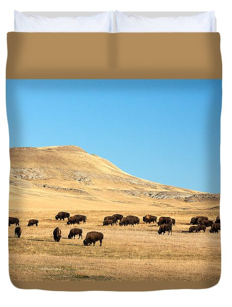 Great Plains Buffalo Duvet Cover by Todd Klassy