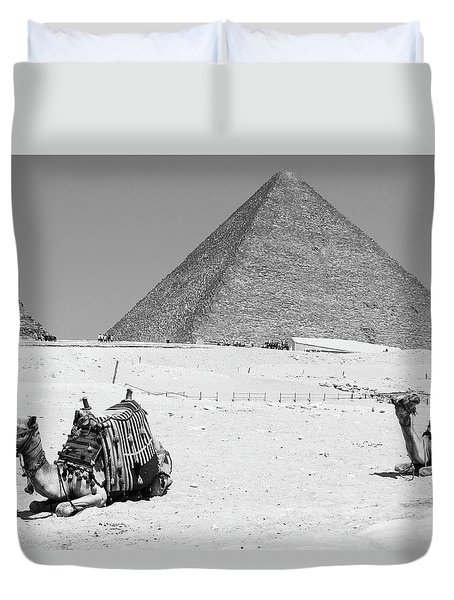 Duvet Cover featuring the photograph great pyramids of Giza by Silvia Bruno