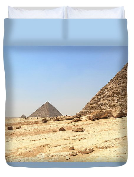 Duvet Cover featuring the photograph Great Pyramids Of Gizah by Silvia Bruno