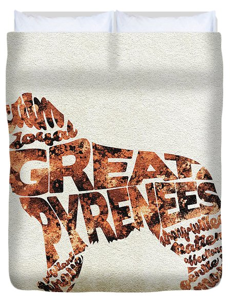 Duvet Cover featuring the painting Great Pyrenees Watercolor Painting / Typographic Art by Inspirowl Design