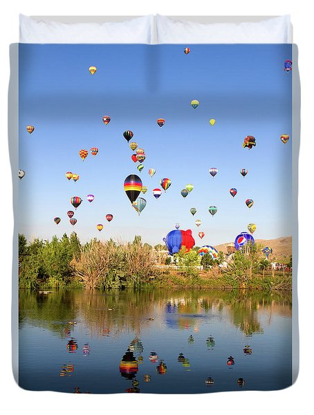 Duvet Cover featuring the photograph Great Reno Balloon Races by Steven Frame