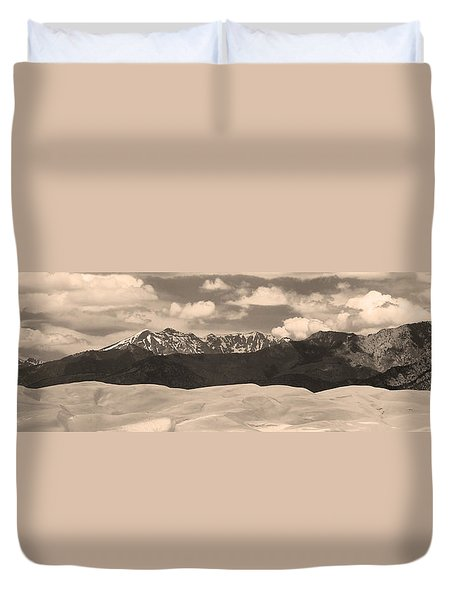 Great Sand Dunes Panorama 1 Sepia Duvet Cover by James BO  Insogna