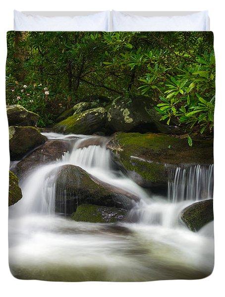 Great Smoky Mountains Gatlinburg Tn Roaring Fork Waterfall Nature Duvet Cover
