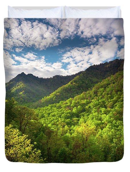 Great Smoky Mountains Gatlinburg Tn Spring Scenic Landscape Duvet Cover