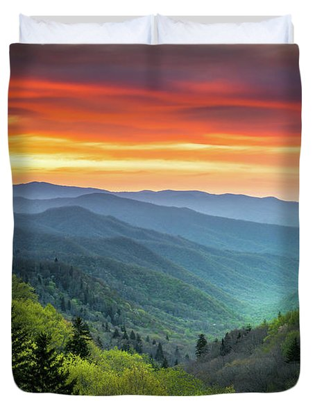 Great Smoky Mountains National Park Gatlinburg Tn Scenic Landscape Duvet Cover