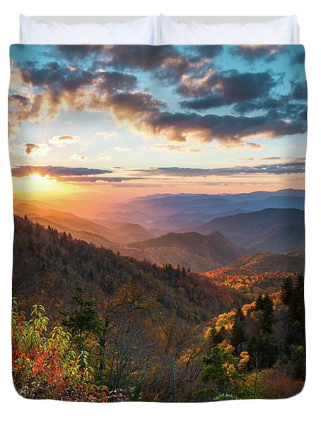 Great Smoky Mountains National Park Nc Scenic Autumn Sunset Landscape Duvet Cover