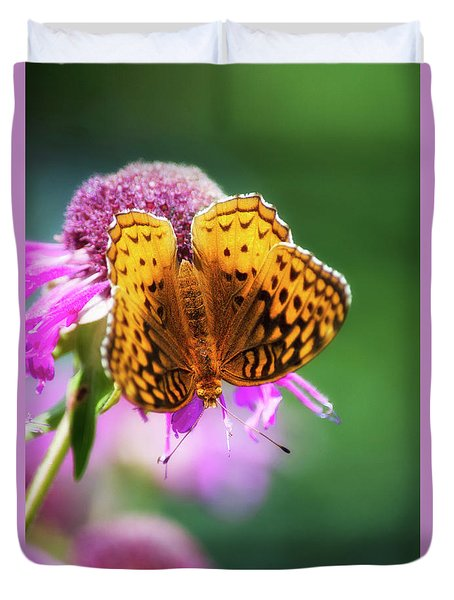 Great Spangled Fritillary Butterfly Duvet Cover by Christina Rollo