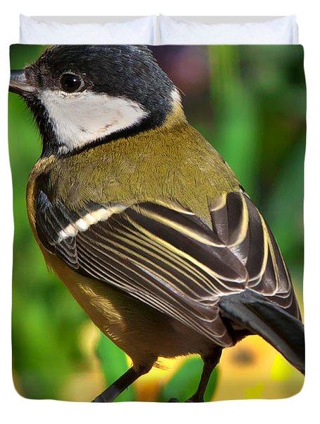 Great Tit British Bird Parus Major Duvet Cover